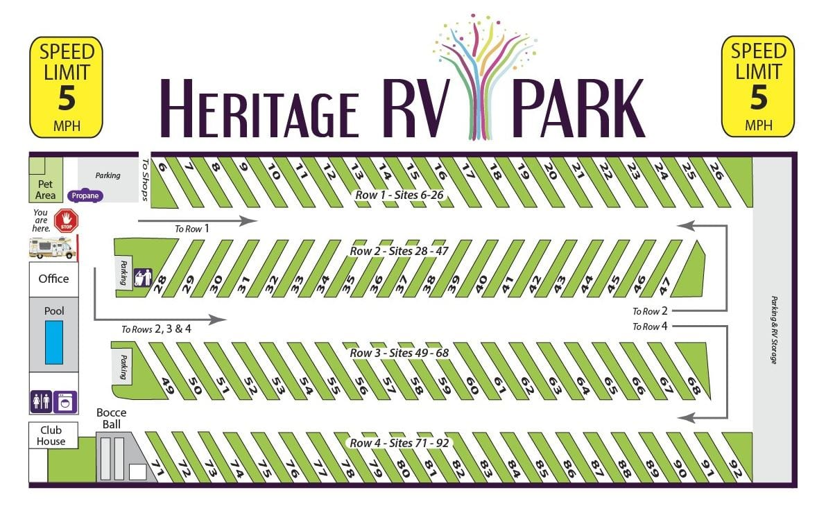 Heritage RV Park Map